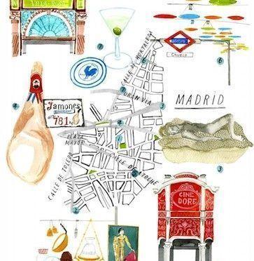 Ilustraciones del metro y monumentos