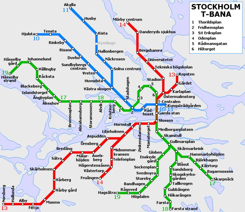 Plano del metro de Estocolmo