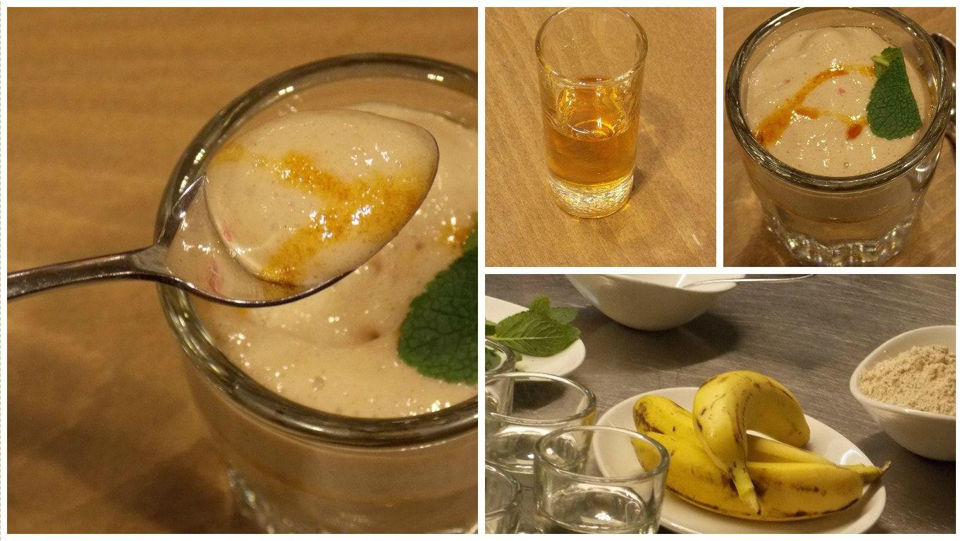 Espuma de platano con gofio y miel