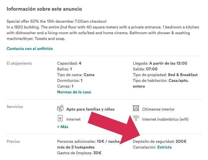Depósito de seguridad Airbnb