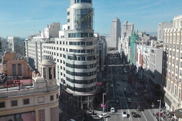 Vistas de Madrid desde El corte inglés de Callao