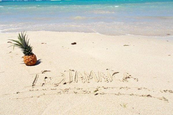 Playa y piña en la playa de jamaica