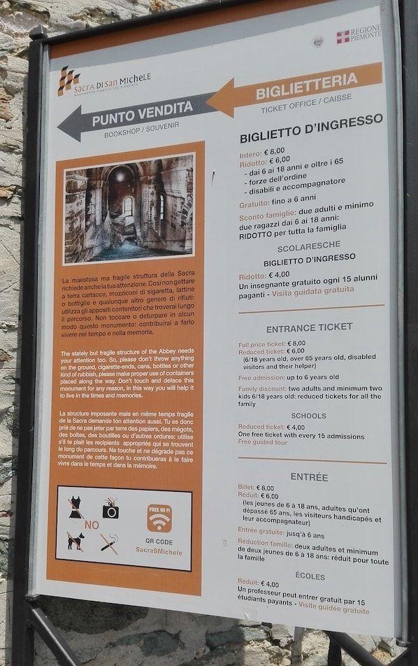 Información con precios en Sacra San Michele