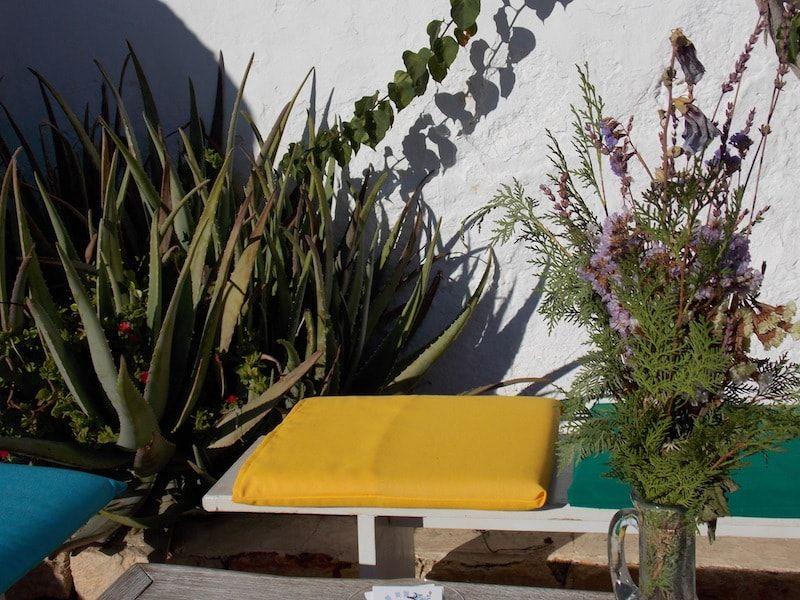 Comer en el jardín de Es Caliu en Ibiza