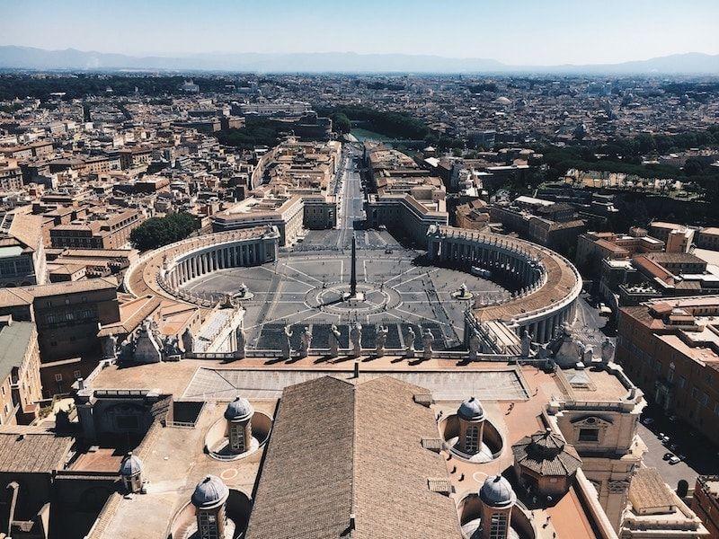 Plaza Vaticano de Roma desde la cúpula