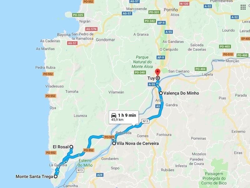 Mapa excursión A Guarda