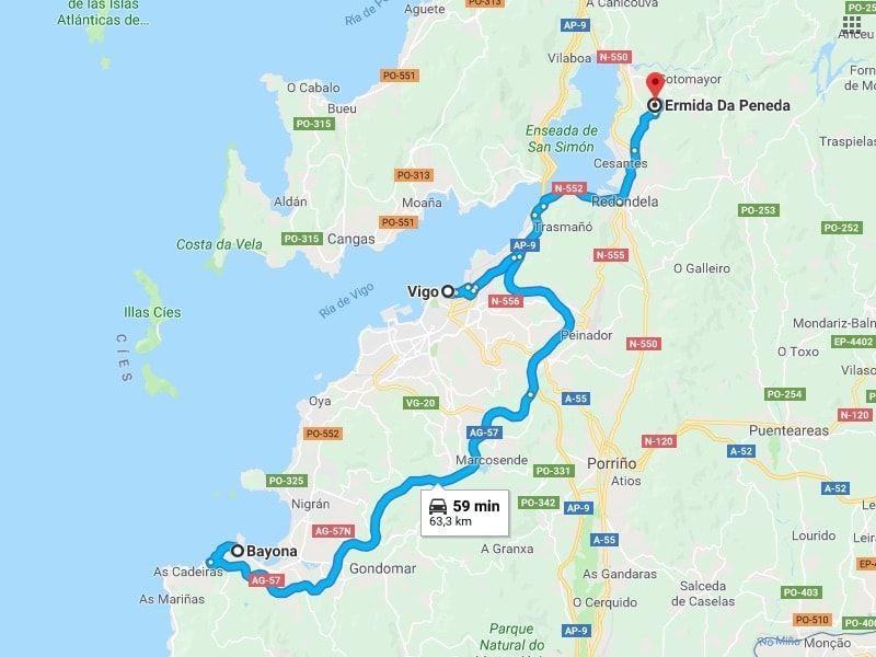 Mapa excursión a Baiona