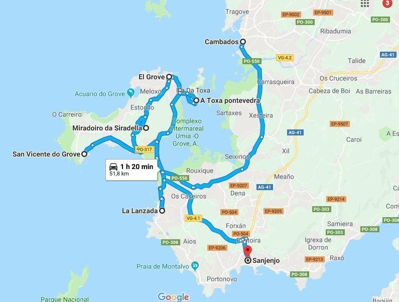 Mapa ruta por el Grove